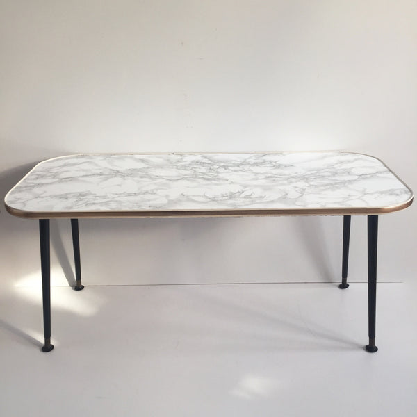 90cm Marble Effect Vintage Coffee Table 1950s - Table Basse Vintage 90cm Effet Marbre - Free delivery UK France