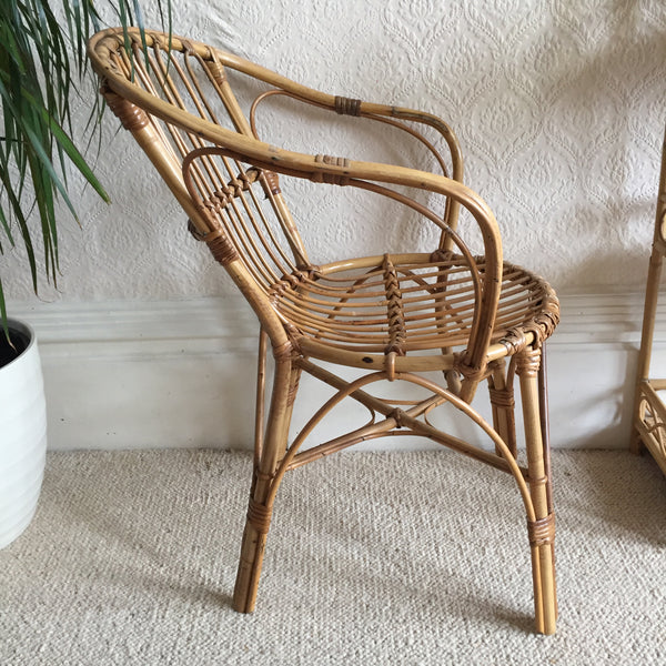 Vintage Rattan Wicker Chair  - Fauteuil Rotin Vintage - Free Delivery UK-Livraison Gratuite France