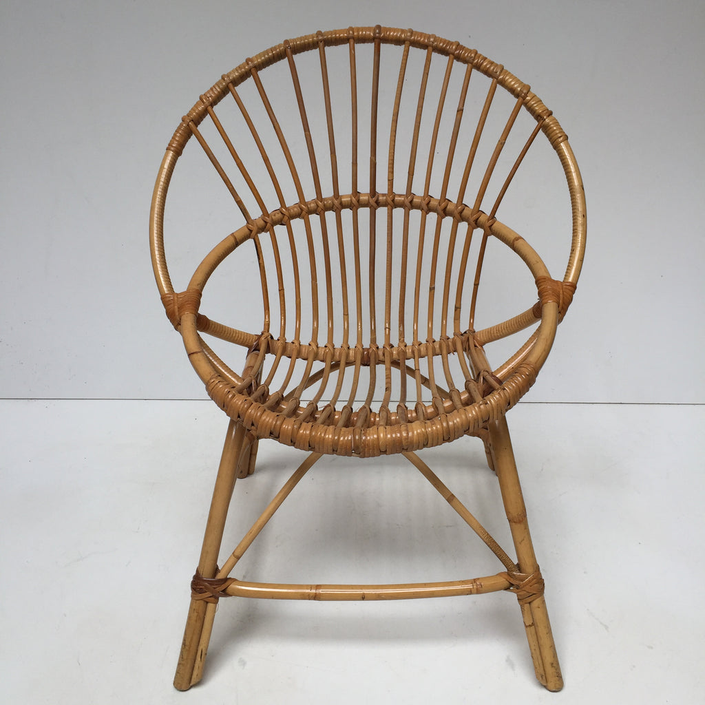 Vintage Rattan Wicker Chair Fauteuil Rotin Vintage Coquille