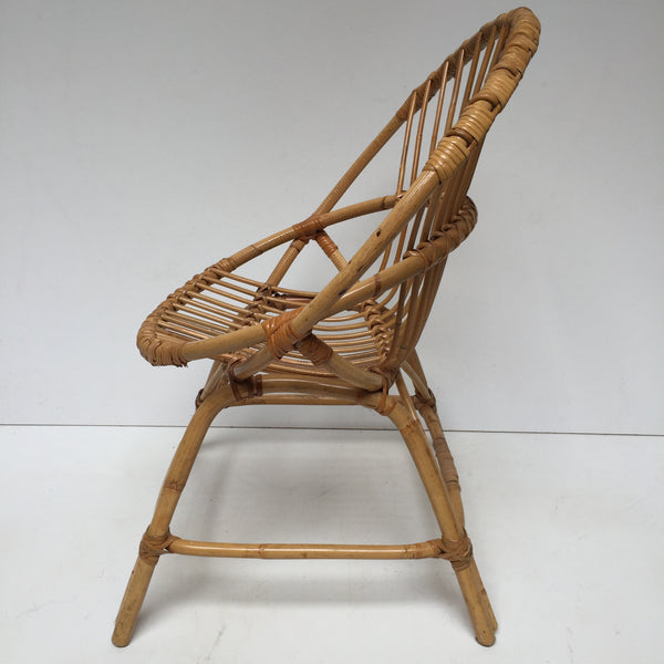 Vintage Rattan Wicker Chair  - Fauteuil Rotin Vintage Coquille - Free Delivery UK-Livraison Gratuite France