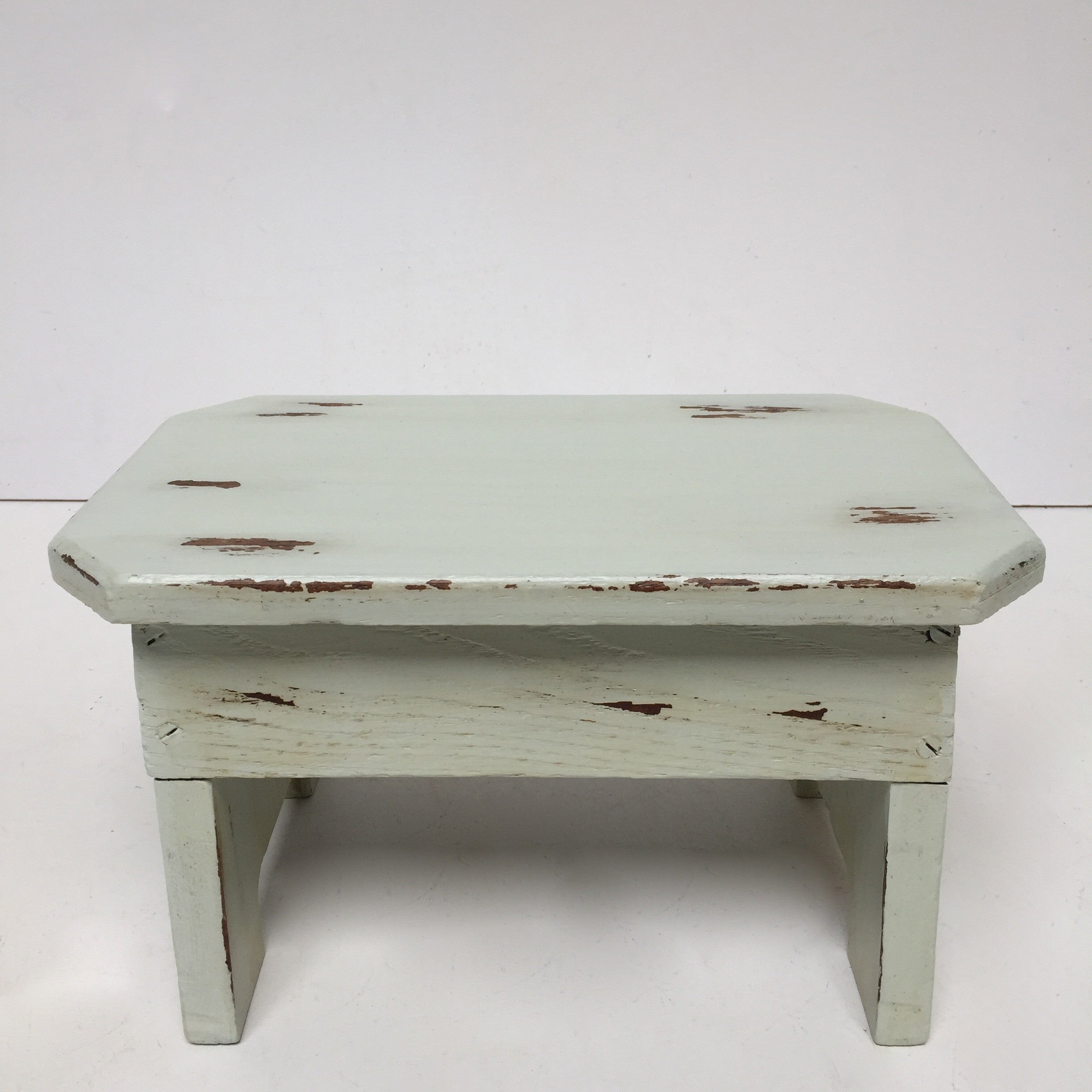 French Farm Antique Shabby Chic Stool - Ancien Tabouret Shabby Mint - Free Delivery UK & France