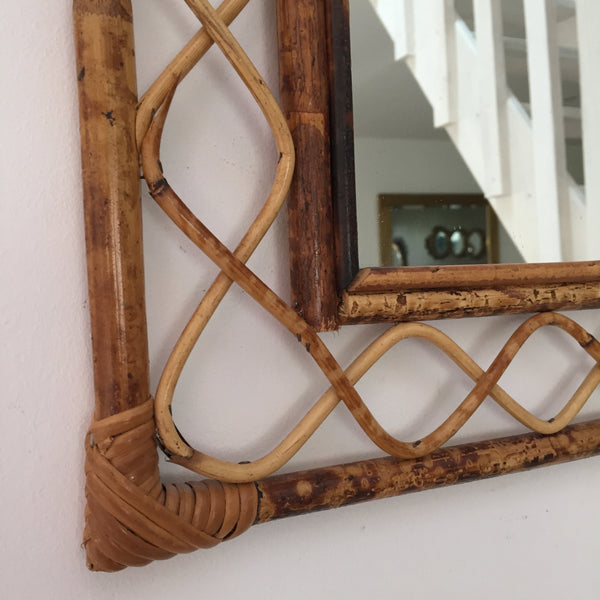 Vintage Bamboo Wicker Arched Mirror - Miroir Vintage Rotin Bambou Volutes- Free Delivery UK-Livraison Gratuite France
