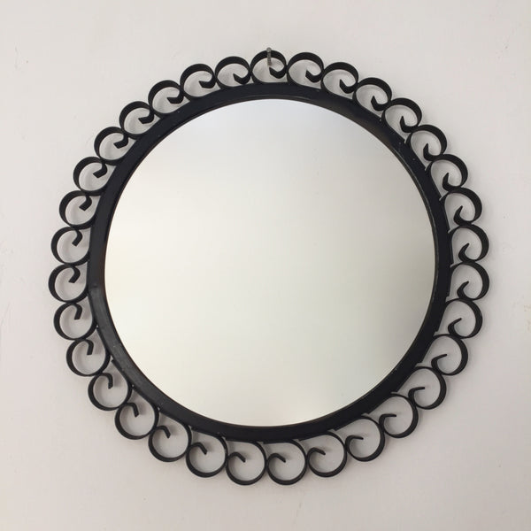 Vintage French Black Metal Round Mirror - Miroir Vintage Rond Metal Noir - Free delivery UK - Livraison gratuite France
