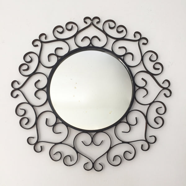 vintage french black metal lace round mirror chaty vallauris miroir v la petite brocante. Black Bedroom Furniture Sets. Home Design Ideas