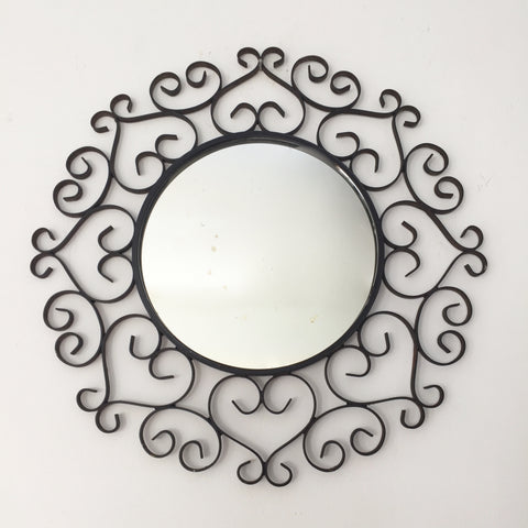 Vintage French Black Metal Lace Round Mirror Chaty Vallauris- Miroir Vintage Rond Metal Noir Dentelle Chaty Vallauris - Free delivery UK - Livraison gratuite France