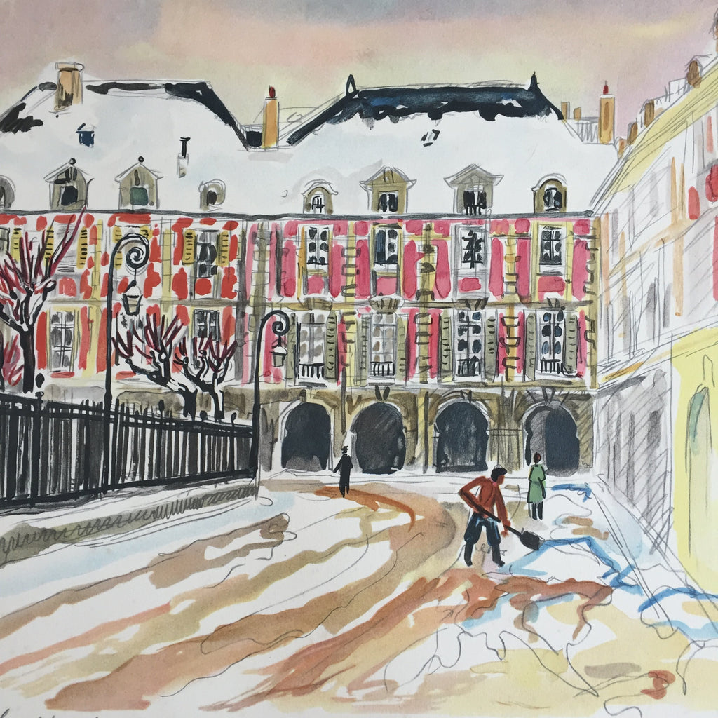 lithographie place des vosges sous la neige de yves brayer free deliv la petite brocante. Black Bedroom Furniture Sets. Home Design Ideas