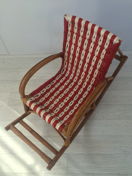A Vintage 1960s Scoubidou Woven Child Rocking Chair