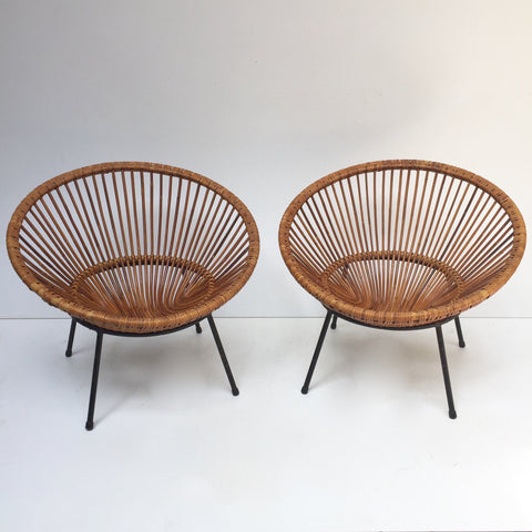 Pair of Vintage Wicker Rattan Sunburst Chairs - Paire de Fauteuils Soleil en Rotin Vintage - Free Delivery UK-Livraison Gratuite France