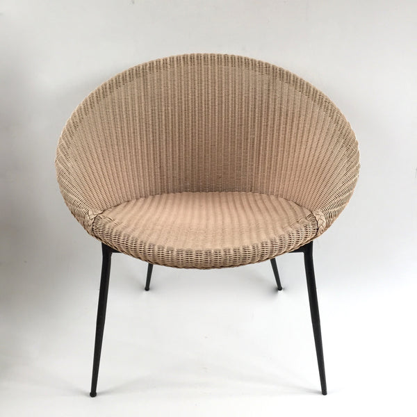 Dusty Pink Lusty Lloyd Loom Vintage Wicker Chair 1950s - Chaise Vintage Lusty Lloyd Loom Rose Blush  - free delivery UK/France