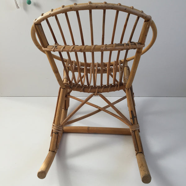 Vintage Rattan Wicker Kid's Rocking Chair - Rocking Chair Coquille Rotin Enfant Vintage - Free Delivery UK-Livraison Gratuite France