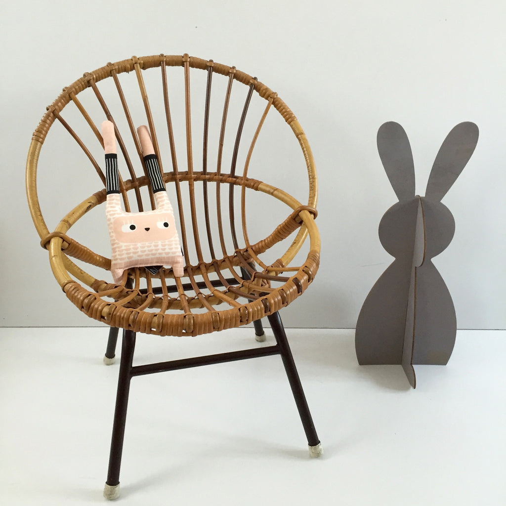 Vintage Rattan Wicker Kids Chair Metal Feet