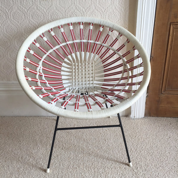Vintage Satellite Woven Plastified Wicker Pavlova Chair - Fauteuil Pavlova Scoubidou Rotin Plastifié Vintage - free delivery UK- livraison gratuite France