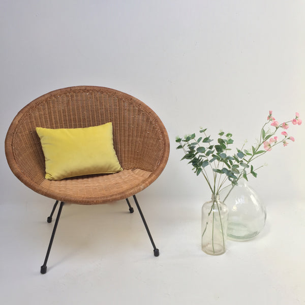 1960s Retro Rattan Wicker Satellite Chair- Fauteuil Satellite Rotin Vintage Pieds Metal- Free Delivery UK-Livraison Gratuite France