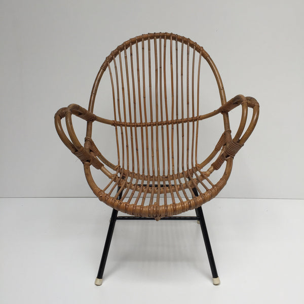 Vintage Rattan Wicker Chair - Fauteuil Rotin Vintage Accoudoirs - Free Delivery UK-Livraison Gratuite France