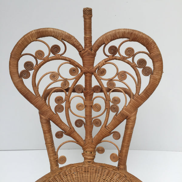 Vintage Peacock 1970s Lovehearts Wicker Chair - Chaise Bohème Peacock Coeur 1970 Rotin Vintage - Free delivery- Livraison Gratuite