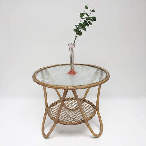 1950s Vintage Rohe Glass and Wicker Table - Table basse Vintage Rotin et Verre Rohé Annees 50 - Free Delivery UK - Livraison Gratuite France