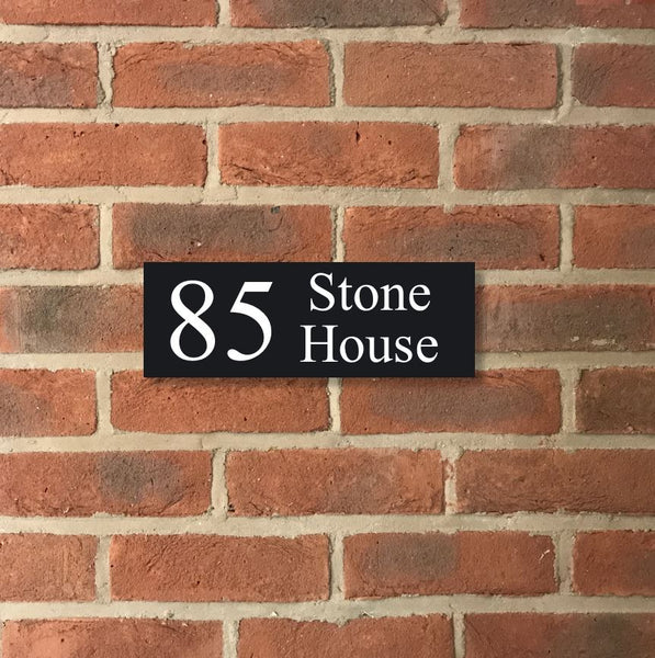 "12""x4"" = (30cm x 10cm) Natural Granite House Sign Granite House Signs www.HouseSign.co.uk"