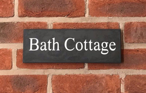 "12""x4"" (30cm X 10cm) Natural Slate House Sign Slate Sign www.HouseSign.co.uk"