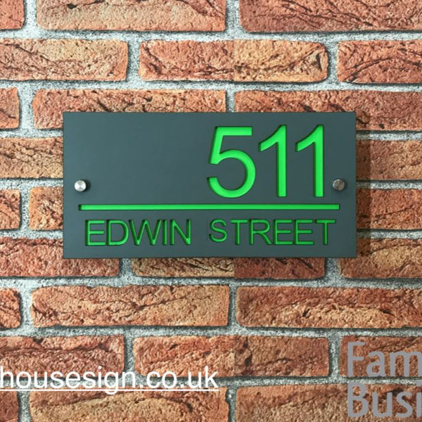 "12""x6"" (30cm x 15cm) Acrylic Contemporary House Sign Acrylic House Signs www.HouseSign.co.uk"