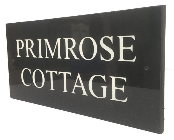 "12""x6"" = (30cm x 15cm) Natural Granite House Sign Granite House Signs www.HouseSign.co.uk"