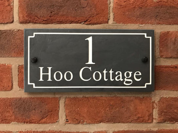"12""x6"" (30cm x 15cm) Natural Slate House Sign Slate Sign www.HouseSign.co.uk"