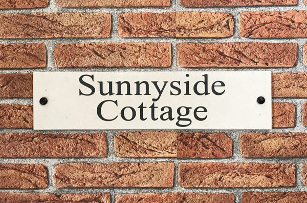 "16""x4"" = (40cm x 10cm) Natural Stone Sign Stone House Sign www.HouseSign.co.uk"