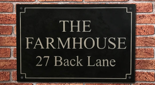 "18""x12"" = (45cm x 30cm) Natural Granite House Sign Granite House Signs www.HouseSign.co.uk"