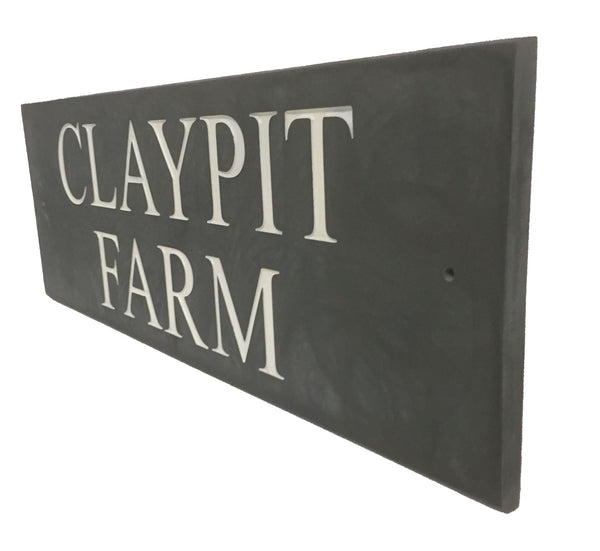 "18""x6"" (45cm x 15cm) Natural Slate House Sign Slate Sign www.HouseSign.co.uk"