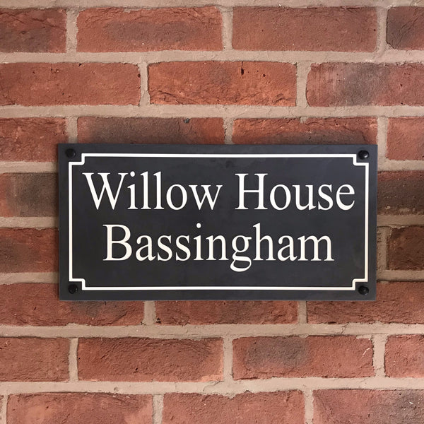 "18""x9"" (45cm x 22.5cm) Natural Slate House Sign Slate Sign www.HouseSign.co.uk"