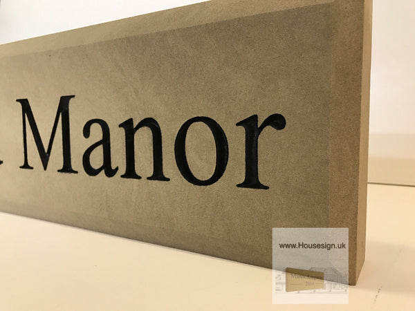 "24""x6"" = (60cm x 15cm) Natural Stone Build in The Wall Sign Build in The Wall Sign www.HouseSign.uk"
