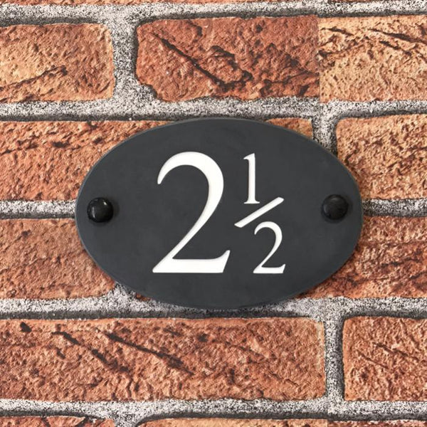 "6""x4"" (15cm x 10cm) Natural Slate Oval House Sign Slate Sign www.HouseSign.co.uk"