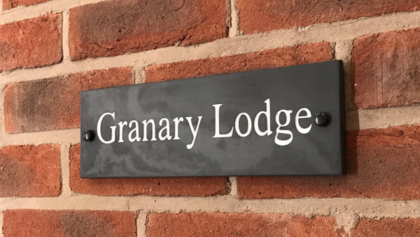 "12""x4"" (30cm X 10cm) Natural Slate House Sign"