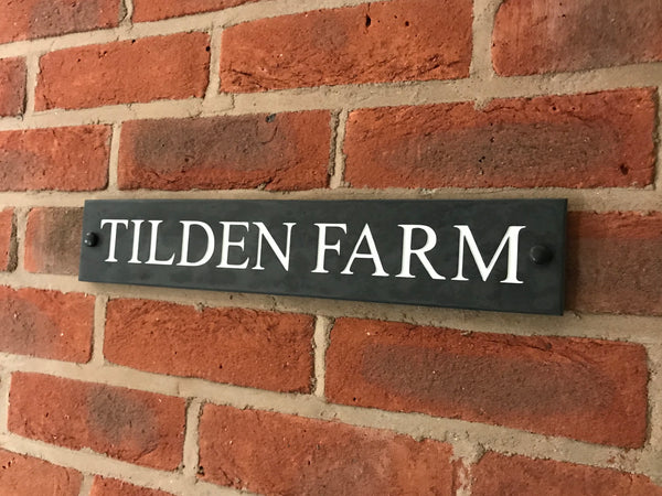 "16""x3"" (41cm x 7.5cm) Natural Slate House Sign"