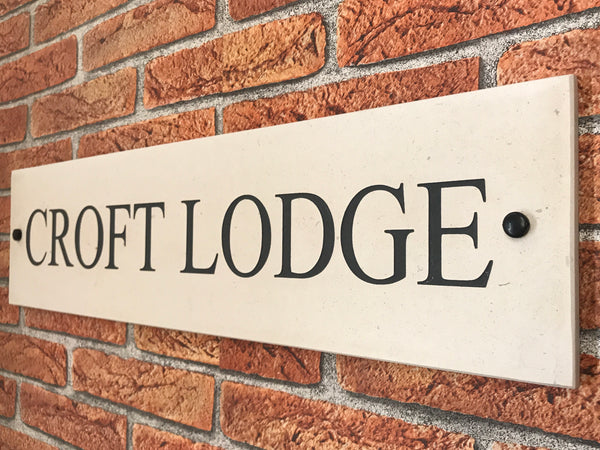 "24""x6"" = (60cm x 30cm) Natural Stone House Sign"
