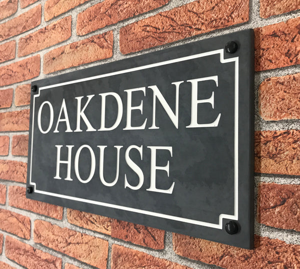 "18""x9"" (45cm x 22.5cm) Natural Slate House Sign"
