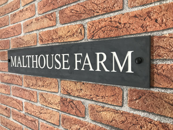 "24""x4"" (60cm x 10cm)Natural Slate House Sign"