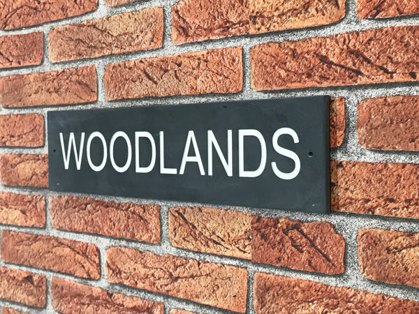 "16""x4"" (41cm x 10cm) Natural Slate House Sign"