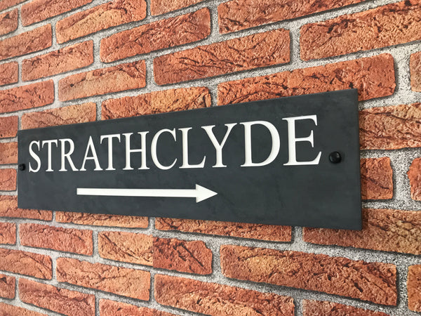 "24""x6"" (60cm x 15cm)Natural Slate House Sign"