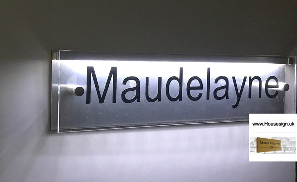 "Mains powered LED Acrylic House Sign 16""x4"" LED Acrylic Signs www.HouseSign.co.uk"