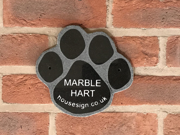 "Memorial 7""x7"" Paw Granite House Signs www.HouseSign.co.uk"