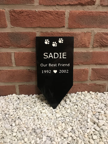 "Peg in ground Memorial 12""x6"" Granite House Signs www.HouseSign.co.uk"