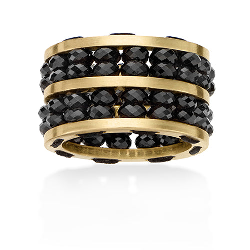 Gold and Black Spinel Ring