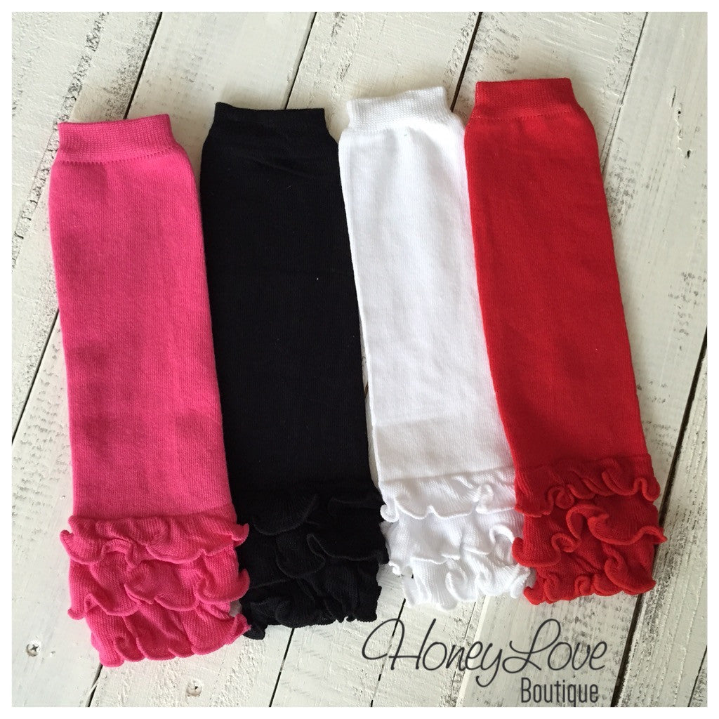 Solid Color Ruffle Bottom Leg Warmers - Pink, Black, White or Red - HoneyLoveBoutique