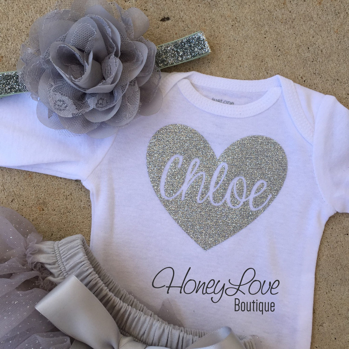 Personalized Name inside Heart - Gray and Silver Glitter - HoneyLoveBoutique