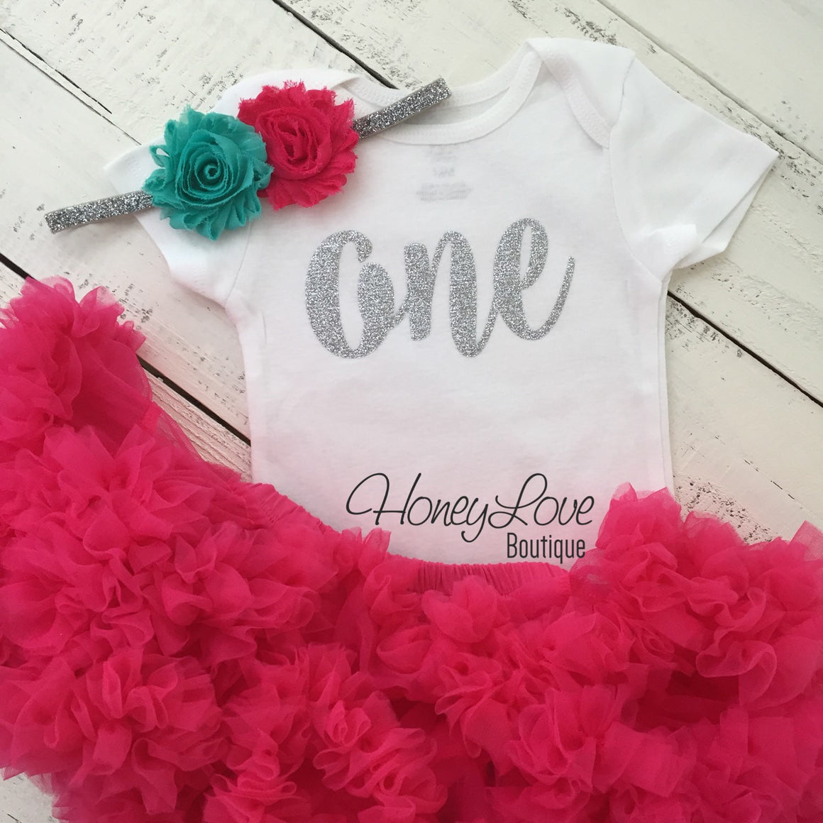 One - SILVER or GOLD glitter shirt, hot pink watermelon pettiskirt tutu skirt, blue flower headband, First Birthday 1st Cake Smash baby girl - HoneyLoveBoutique