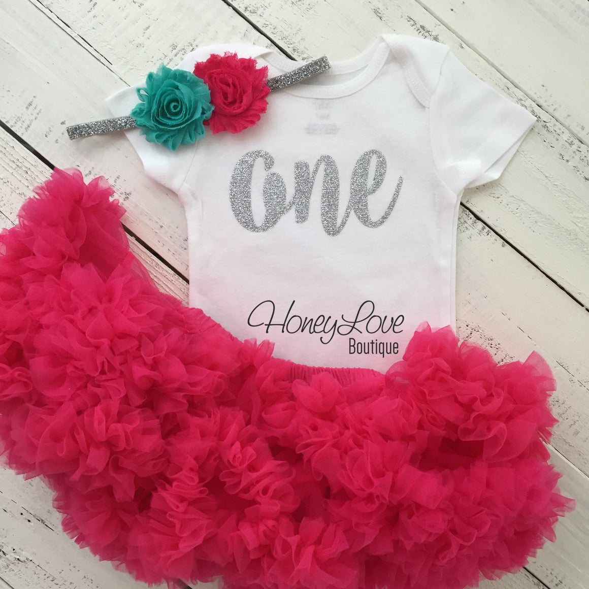 One - 1st Birthday Outfit - Silver or Gold and watermelon pink/turquoise