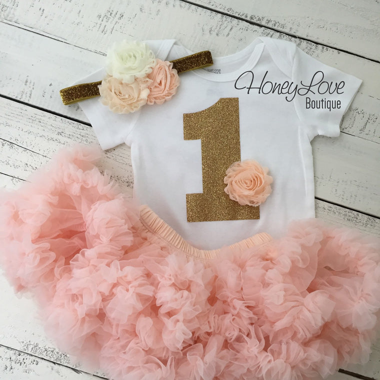 1st Birthday Outfit, peach gold glitter 1 number shirt, pettiskirt tutu skirt, shabby flower headband bow, First Cake Smash baby girl - HoneyLoveBoutique