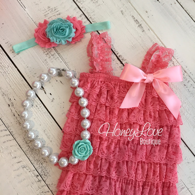 Coral and Aqua - Chunky Bead Bubblegum Pearl Flower Neckalce, Lace Petti Romper, shabby hair bow newborn infant toddler baby girl outfit set - HoneyLoveBoutique