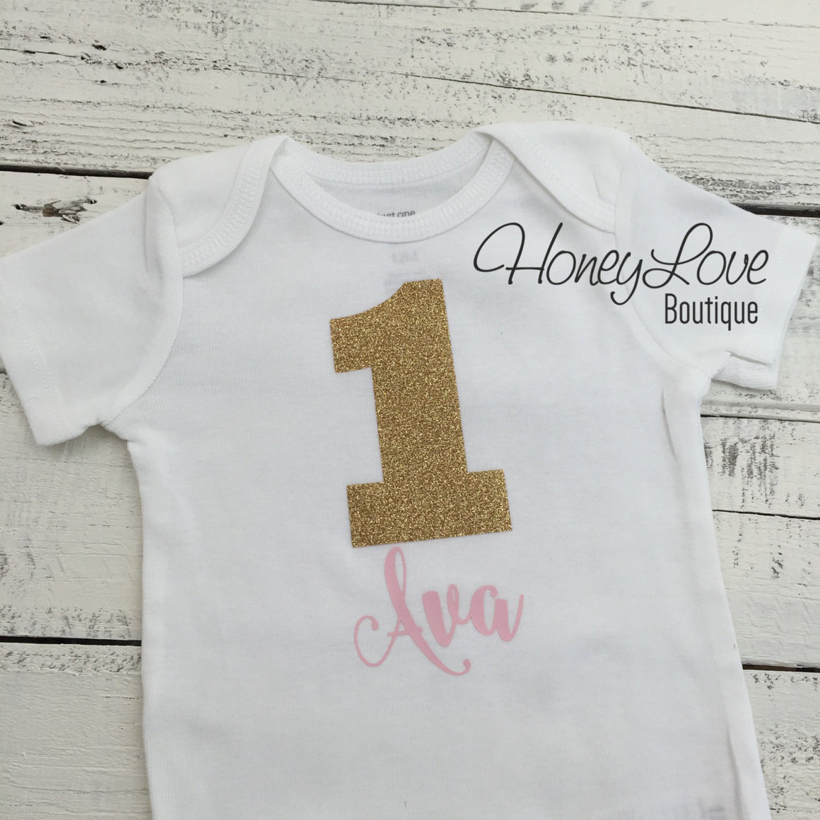 Personalized Name 1st Birthday Bodysuit - Gold Glitter and Light Pink - HoneyLoveBoutique