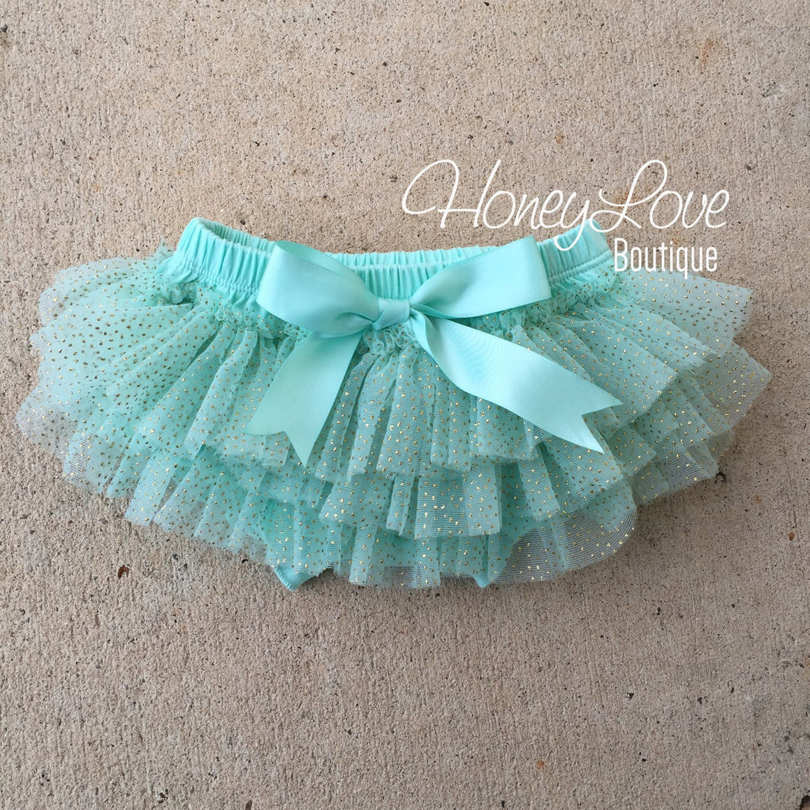 Mint/Aqua with gold glitter - tutu skirt bloomers